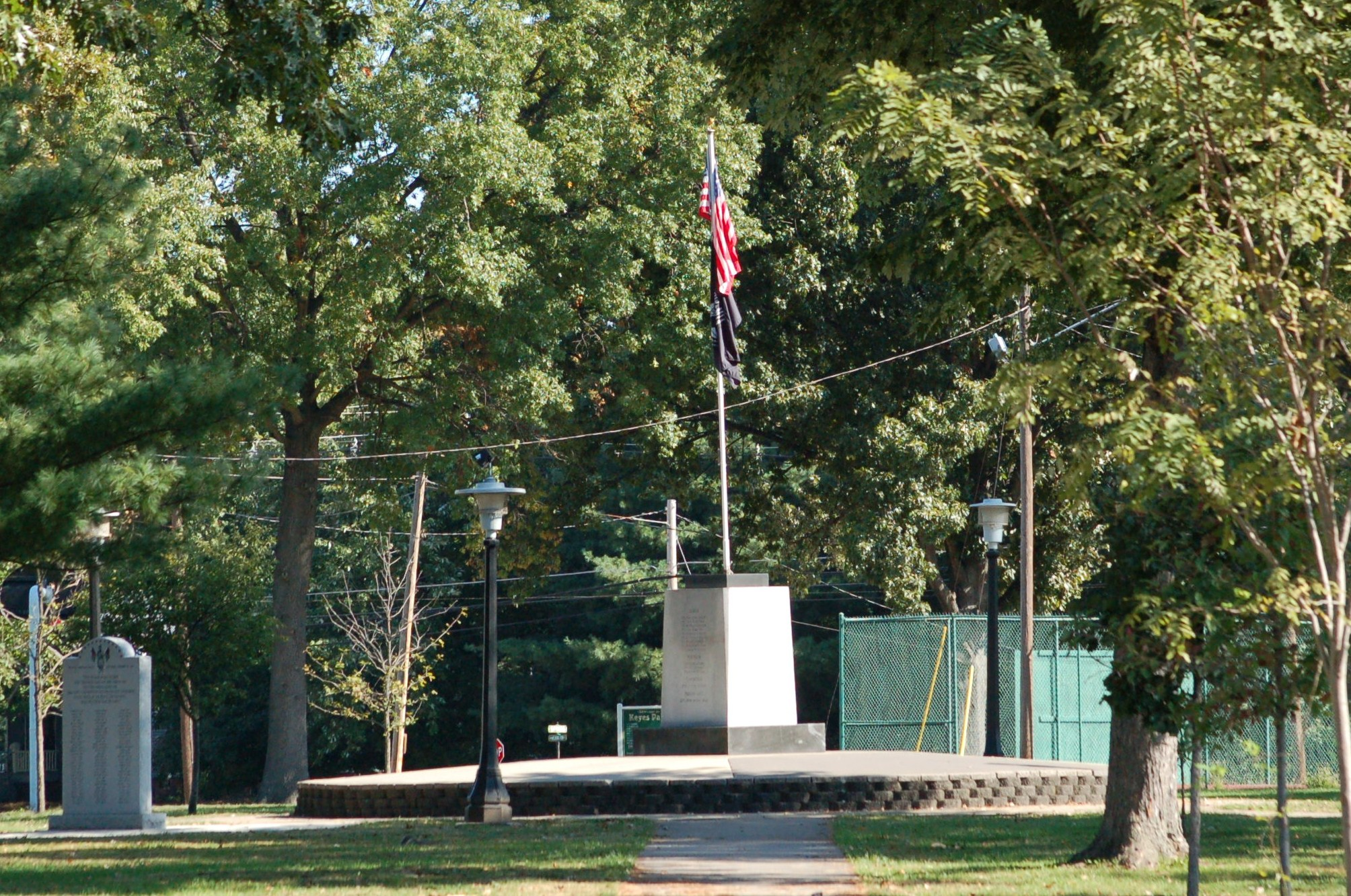 Cropped flag and memorial